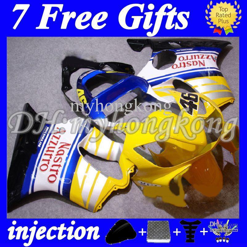 7gifts Para Injeção HONDA CBR600FS FS CBR600 F4i 01 02 03 CBR 600 F4i 2001 2002 2003 amarelo Branco IJ164 CBR600F4i 600F4i ABS Carenagem