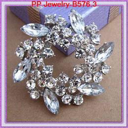 Wholesale Asian Hijab Wholesalers China - Rhodium Plated Stunning Crystals Pretty Flower Wreath Vintage Brooch For Wedding Amazing Elegant Exquisite Women Broach Pin Hijab Pin