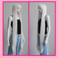 Wholesale cheap white long wig - Wholesale cheap 130CM Long Silver White Straight With neat Bangs Anime Cosplay Sexy Party wig