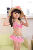 Wholesale Baby Leopard Swimsuit - girls leopard swimsuits children 3pcs bikini sets baby beach wear kid bathing suit