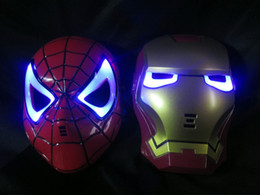 Wholesale Make Spiderman Mask - 10pcs HALLOWEEN MASK Cosplay Glowing Spiderman  Spider-Man Mask Eyes Make up Toy for Kids Boys