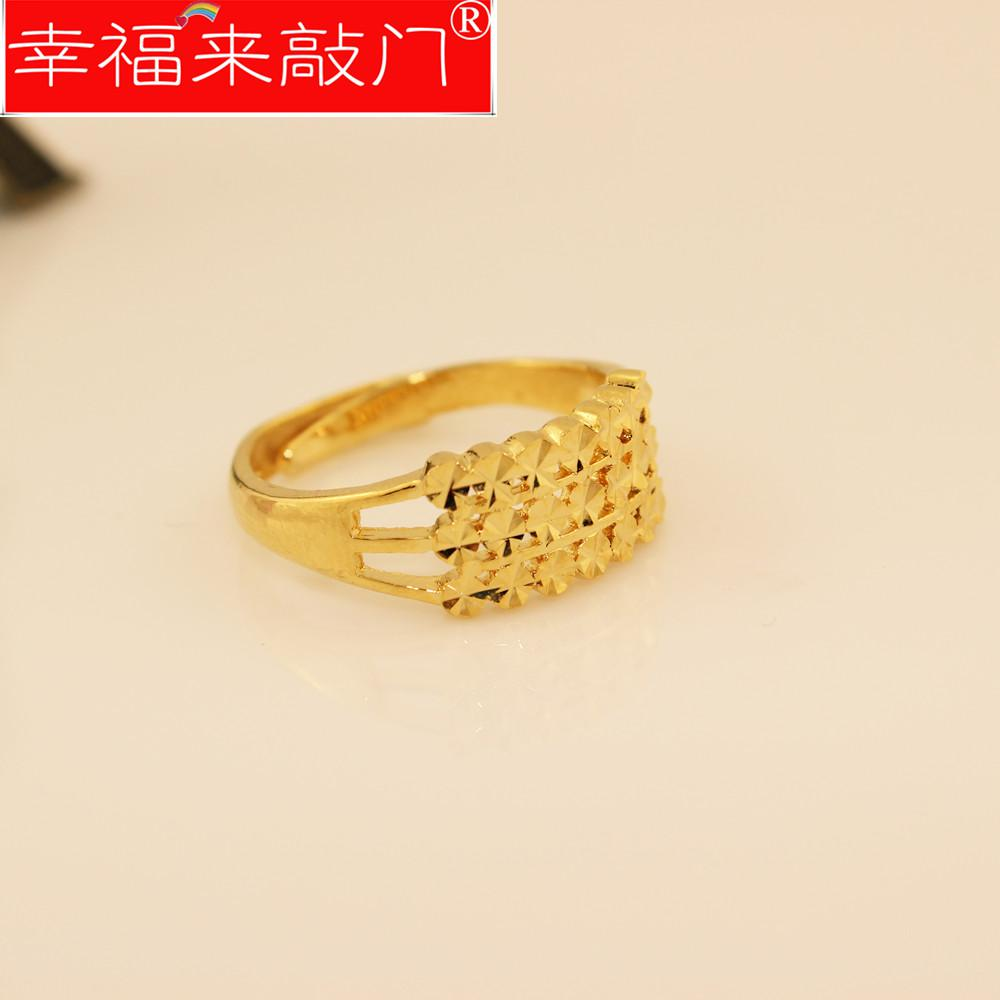 24k Gold Ring Simple And Elegant Female Gold Plated Rings Alluvial ...