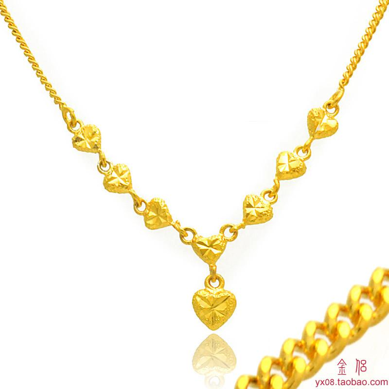 Gold-plated heart-shaped necklace female South Korea may gilded gold pendant necklace chain whip girls day gift