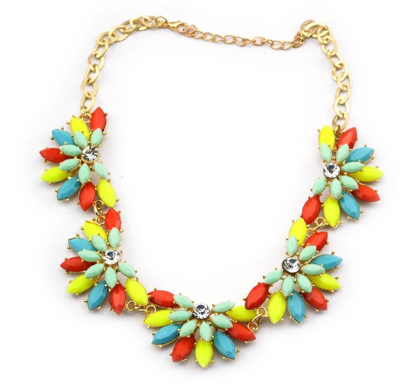 resina banhado a ouro nova moda jóia de cristal colar de flores Choker ajustável