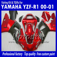 Wholesale Red Black Full Fairing Kit - 7 Gifts bodywork fairings for 2000 2001 Yamaha YZF R1 YZFR1 00 01 YZF-R1 YZF1000 glossy red black full fairing kit MM9