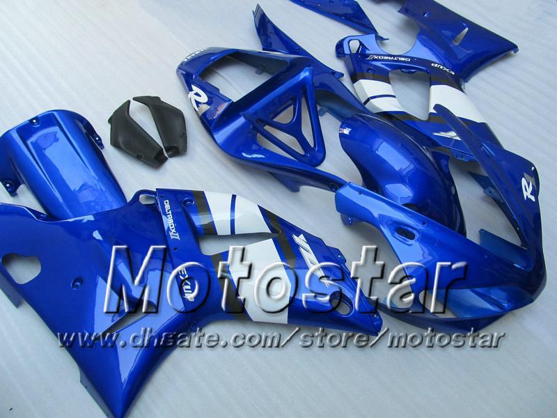 7 presentes carrocerias de carenagem para 2000 2001 Yamaha YZF R1 YZFR1 00 01 YZF-R1 YZF1000 azul brilhante branco kit de carenagem completo MM12