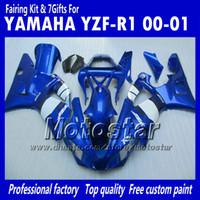 Wholesale Glossy White Yamaha - 7 Gifts bodywork fairings for 2000 2001 Yamaha YZF R1 YZFR1 00 01 YZF-R1 YZF1000 glossy blue white full fairing kit MM12