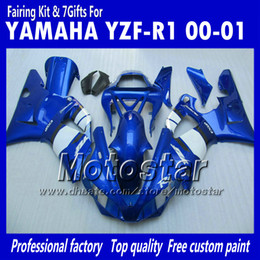7 carenados de carrocería de regalos para 2000 2001 Yamaha YZF R1 YZFR1 00 01 YZF-R1 YZF1000 kit de carenado completo azul blanco brillante MM12