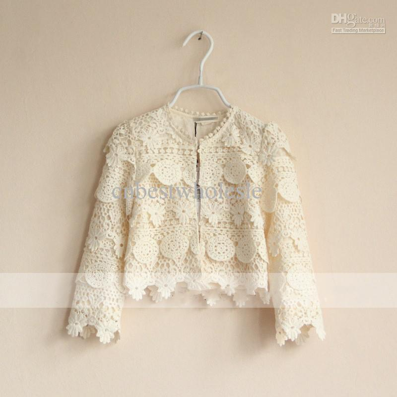 New Baby Girls Crochet Lace Long Sleeve Cardigan Kids Girl Beige ...