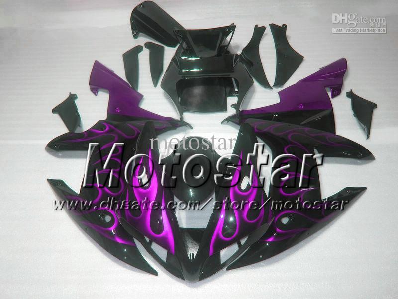 Motorfietsverbarstingen voor Yamaha 2002 2003 YZF-R1 02 03 YZFR1 02 03 YZF R1 YZFR1000 Paarse vlam in zwarte carrosserieblok MM35
