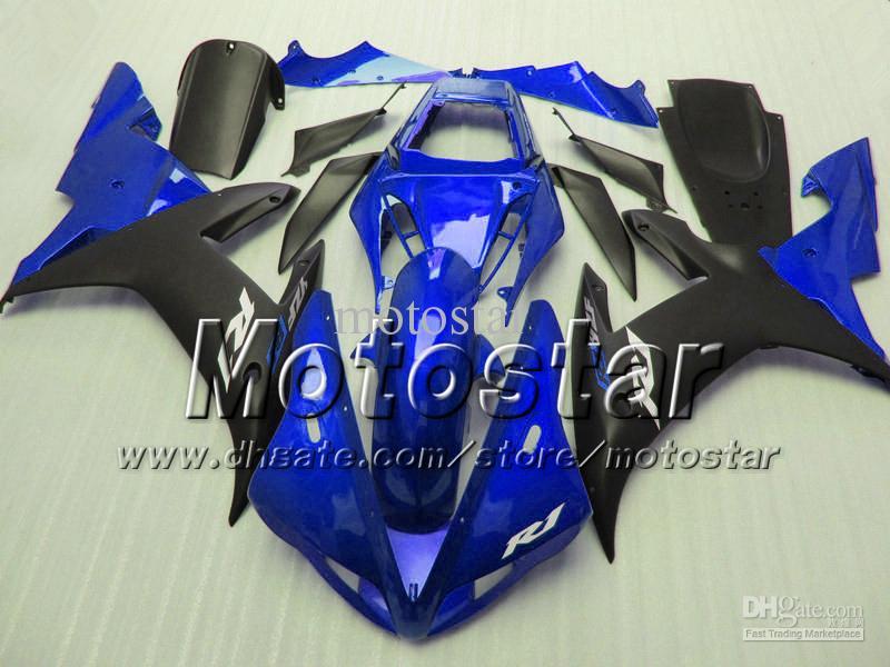 Carenagens de motocicleta personalizada para YAMAHA 2002 2003 YZF-R1 02 03 YZFR1 02 03 YZF R1 YZFR1000 carenagem de carroceria preto azul brilhante MM41