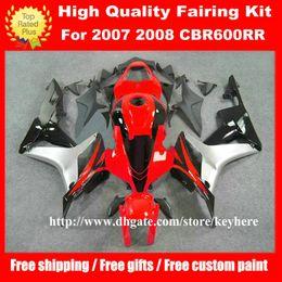 Wholesale Honda Cbr Gifts - Free 7 gifts injection fairing kit for Honda CBR 600RR 2007 2008 CBR600RR CBR 600 RR 07 08 F5 fairings G9k red silver motorcycle bodywork