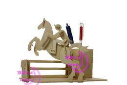Wholesale Jigsaw Woodcraft 3d - Horse Riding Pen Container 3D Puzzles Woodcraft Construction Kit Model Jigsaw Educational Toys Desktop Decoration