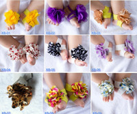 Wholesale tie up barefoot sandals - New Arrival BABY Slipper Sandals Barefoot Sandals Foot Flower Foot Ties girls Toddler flower Shoes Free Shipping