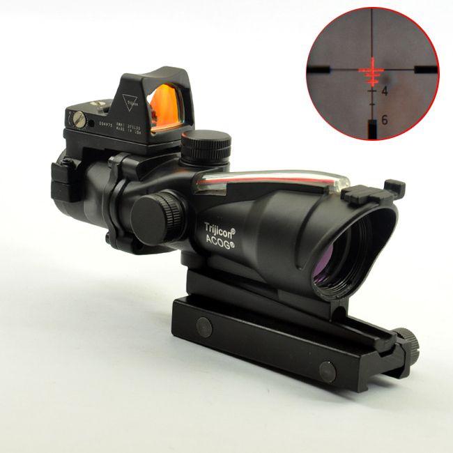 أكغ ستليي TA31 4X32 الألياف مصدر نطاق أحمر مضيئة مع RMR مايكرو ريد دوت البصر