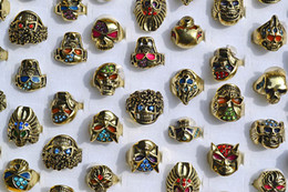 Wholesale Crafts Anniversary - 50pcs Big Gothic Skull Carved Biker Rings Colorful Rhinestone Oil Drop Craft Gold Tone Finger Ring R553 New Jewelry