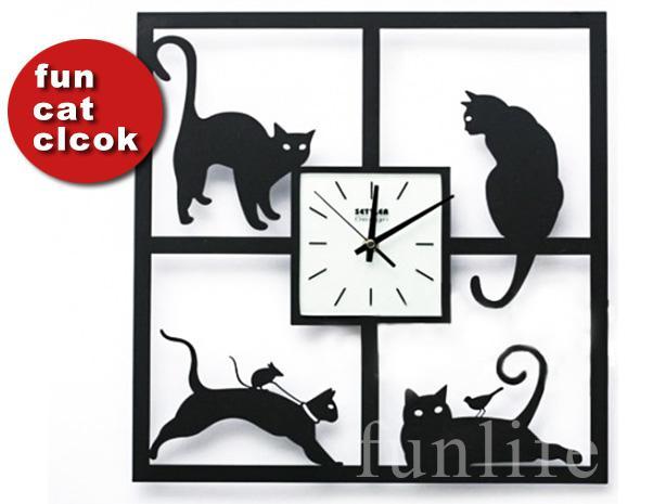 Cat Wall Art funlife fun cat & mouse art wall clock acrylic quartz clock