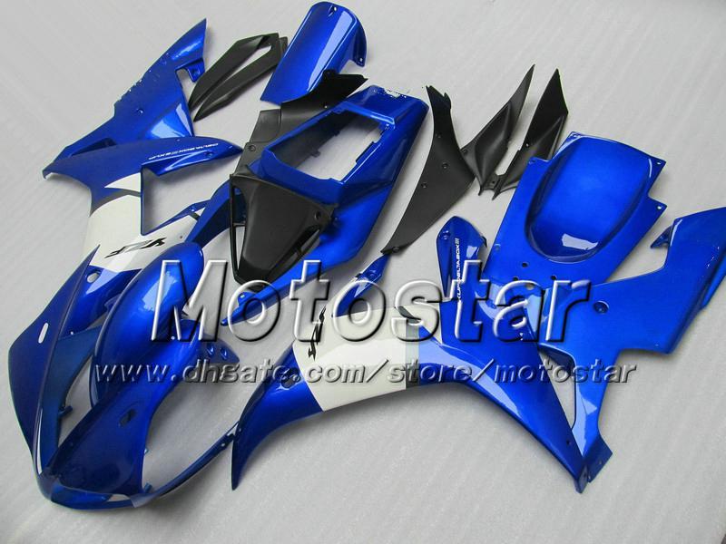 7 carretilhas de moto personalizado para YAMAHA 2002 2003 YZF-R1 02 03 YZFR1 02 03 YZF R1 YZFR1000 carenagem ABS azul brilhante preto MM79