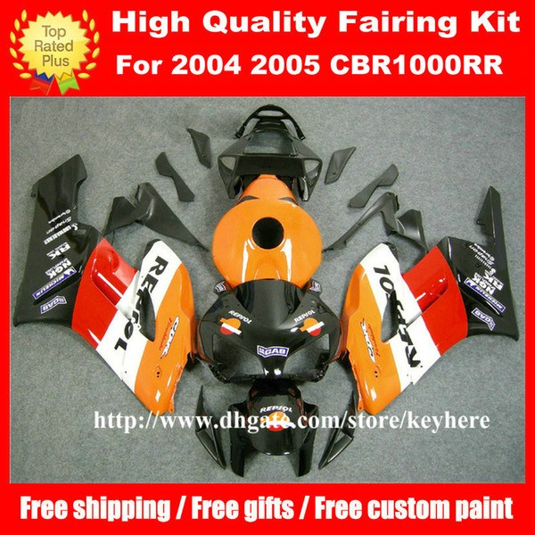 best selling Free 7 gifts injection fairing kit for Honda CBR1000 RR 2004 2005 CBR1000RR 04 05 CBR 1000RR fairings G7l REPSOL orange red motorcycle body