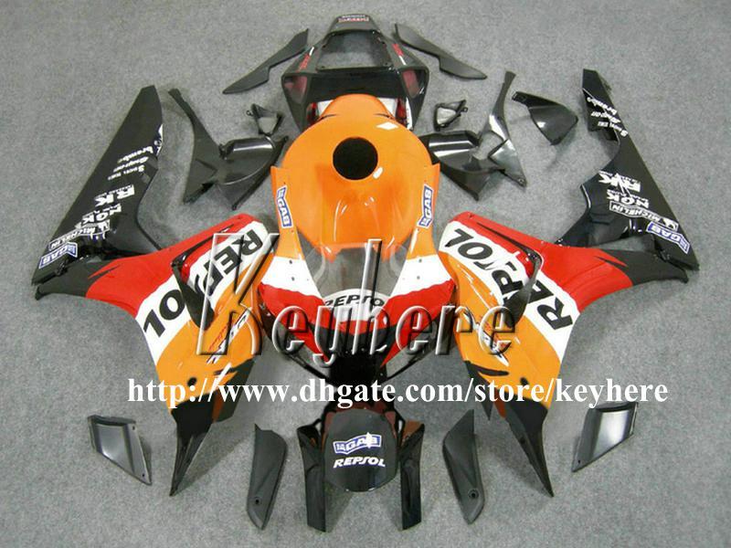 Livre 7 presentes injeção carenagem kit para Honda CBR1000RR 2006 2007 CBR 1000RR 06 07 CBR 1000 RR carenagem g9k REPSOL orange motocicleta peças