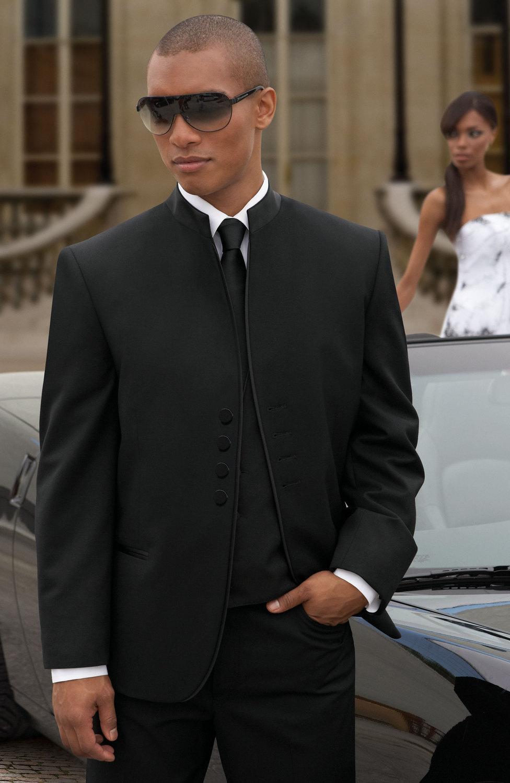 Abiti da sposa nuovissimo quattro pulsanti nero smoking dello sposo Best Man Groomsmen uomini sposo Jacket + Pants + Tie + Vest H955