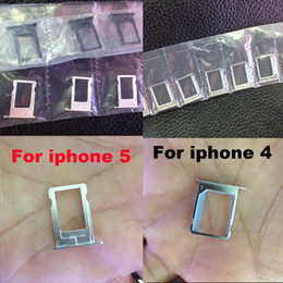 Wholesale Sim Tray Holder Iphone 4s - 100pcs Metal Sim Card Slot Tray Holder Replacement Adapter for iPhone 4 4s iphone 5