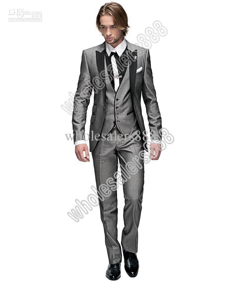 Brand New One Button grigio chiaro smoking dello sposo Best Man Peak Nero risvolto Groomsmen abiti da uomo cerimonia nuziale dello sposo Jacket + Pants + Tie + Vest H956