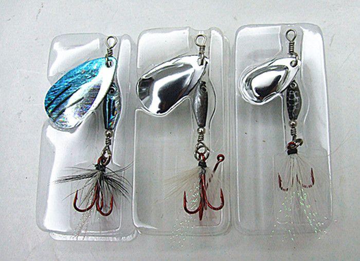 Leurre de pêche Jig Spinner Bait Appât en métal de pêche Attirail de plomb Forme de poisson Pendentif Trois taille 1/4 oz 1/8 oz 1/16 oz emballage exquis
