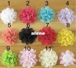 """Wholesale Silk Mesh Puff - 3""""Petite Satin Mesh Silk Flowers Tulle Puff without clip, girl hair accessories 100pcs"""