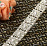 Wholesale Wholesale Faux Pearl Garland - 25m lot 1cm wide faux pearl bead garland string chain WEDDING centerpiece decoration favor accessories  DIY table candelabras & CRAFTS wa041