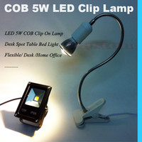 Lumière de table à clip led Pas Cher-LED 5W COB Bright Clip Lamp Lampes de bureau Spot Light Flexible Desk Home Office