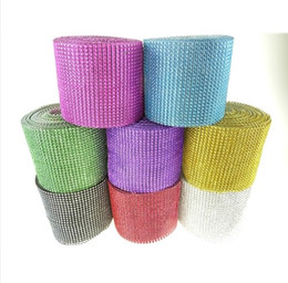 Wholesale Wholesale Rhinestone Trims - 30feet 24Rows Diamond Mesh Rhinestone Ribbon Crystal trim Wrap cake banding For Wedding Decoration Party Decor wa040