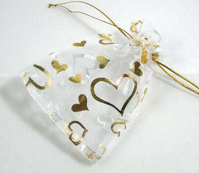 200 pcs 7cm x 9 cm White Organza Gift Bags With Golden Heart Wedding Favor Party Jewelry Pouchs