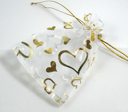 Wholesale Red Jewelry Organza Gift Bags - 200 pcs 7cm x 9 cm White Organza Gift Bags With Golden Heart Wedding Favor Party Jewelry Pouchs
