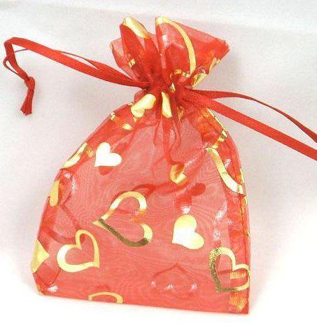 7cm x 9 cm White Organza Gift Bags With Golden Heart Wedding Favor Party Jewelry Pouchs