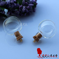 Wholesale Terrarium Globe Necklace - Free Shipping!!New!!!20pcs lot 24.5MM Glass Ball With Ring Corks glass globe necklace glass globe bottle glass globe terrarium