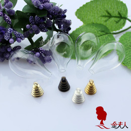 Wholesale Tear Bottle Necklace - Free Shipping!!! Hot sale!!20sets lot 31X18MM Round Bottom Tear Drop Lovely mini glass bottles