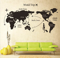 Wholesale Travel World Map Wall Decals - New arrive 5 piece lot 80 * 140 Travel World Map Wall Sticker living room wall decal Xmas gift