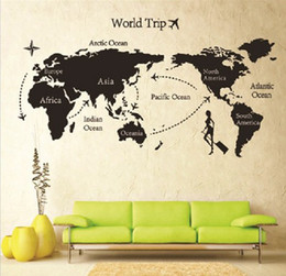 Wholesale Travel Decals Wholesale - New arrive 5 piece lot 80 * 140 Travel World Map Wall Sticker living room wall decal Xmas gift
