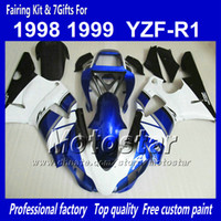 preto branco yamaha r1 venda por atacado-7 carretilhas de carroçaria personalizada para YAMAHA 1998 1999 YZF-R1 98 99 YZFR1 98 99 YZF R1 YZFR1000 carenagem ABS branco preto azul NN12