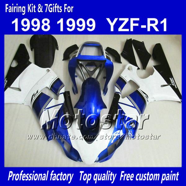 7 desfiles de carrocerías personalizadas para YAMAHA 1998 1999 YZF-R1 98 99 YZFR1 98 99 YZF R1 YZFR1000 azul blanco negro ABS carenado NN12