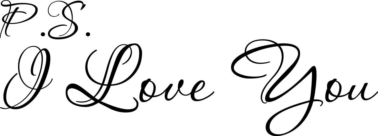 P.S. I Love You Cute Cursive Vinyl Wall Decal Quote ...