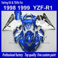 Wholesale 98 R1 Blue Fairings - 7 Gifts custom bodywork fairings for YAMAHA 1998 1999 YZF-R1 98 99 YZFR1 98 99 YZF R1 YZFR1000 blue white ABS fairing NN18