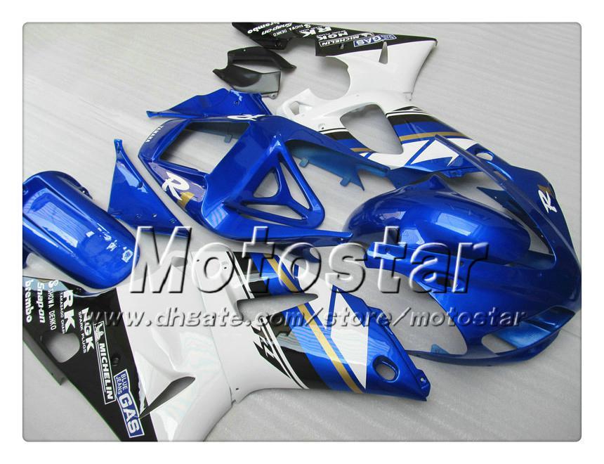 7 Geschenken Custom Carrosseriebacks voor Yamaha 1998 1999 YZF-R1 98 99 YZFR1 98 99 YZF R1 YZFR1000 Blauw Wit ABS FACKING NN18
