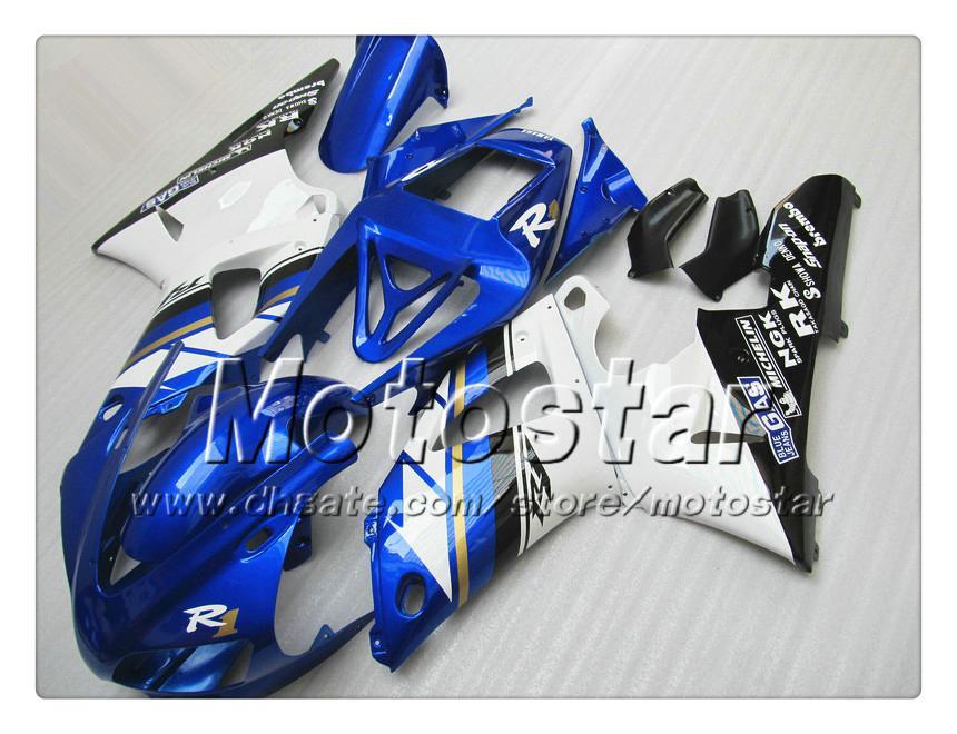 7 presentes carenagem de carroçaria personalizada para YAMAHA 1998 1999 YZF-R1 98 99 YZFR1 98 99 YZF R1 YZFR1000 carenagem ABS branco azul NN18