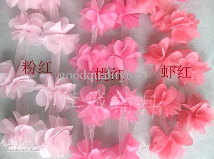 "Pink 10yard 2.4"" beautiful Flower Lace Chiffon Fabric Trim DIY Bridal wedding Doll More Shape"