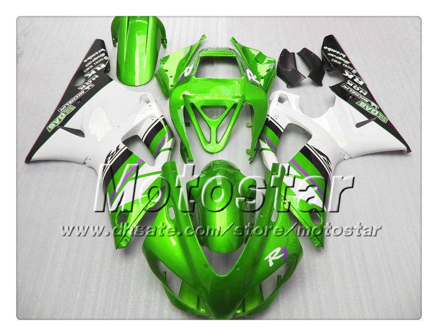 7 Gifts custom bodywork fairings for YAMAHA 1998 1999 YZF-R1 98 99 YZFR1 98 99 YZF R1 YZFR1000 green white ABS fairing NN19