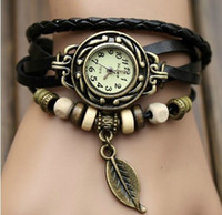 Wholesale Retro Punk Watches - Retro Punk Weave Wrap Leather Beads Leaf Pendant Women Lady Wrist Quartz Watch 7 color for choice 50pcs lot youmyelectec1688