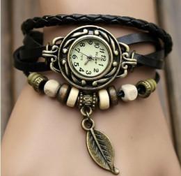 Wholesale Multi Color Round Beads - Retro Punk Weave Wrap Leather Beads Leaf Pendant Women Lady Wrist Quartz Watch 7 color for choice 50pcs lot youmyelectec1688