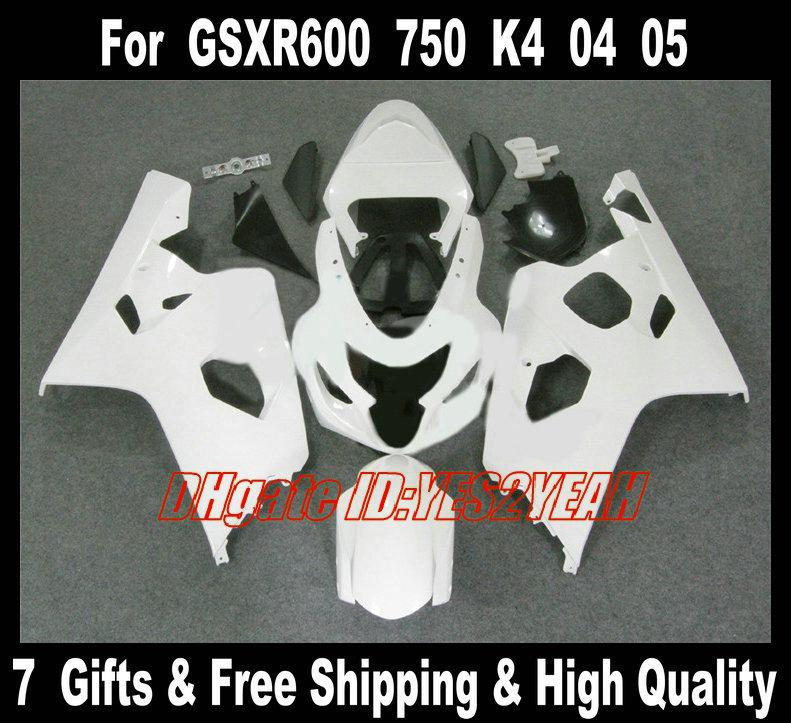 Kit carrozzeria carene 2004 2005 SUZUKI GSXR600 750 GSXR 600 GSXR750 K4 04 05 Carene bianche GSXR 750 Carrozzeria + regali